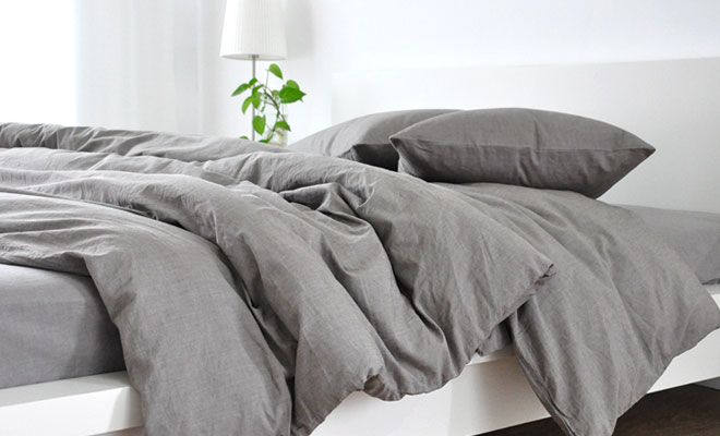 Men S Bedding Medium Grey Linen Duvet Cover