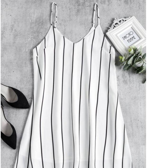 Striped Midi Shift Slip Dress