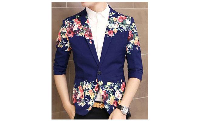 Art Floral Print Navy Blue In Style Short Sleeve Blazer