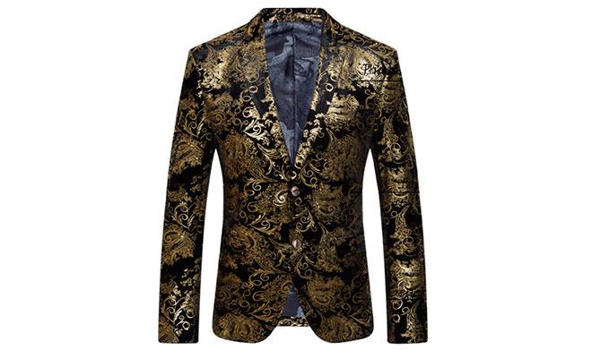 Gold Antique Black Velvet Luxury Blazer