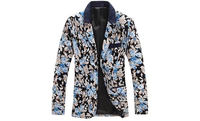 Savvy Bright Blue Grey Floral Fashionable Blazer