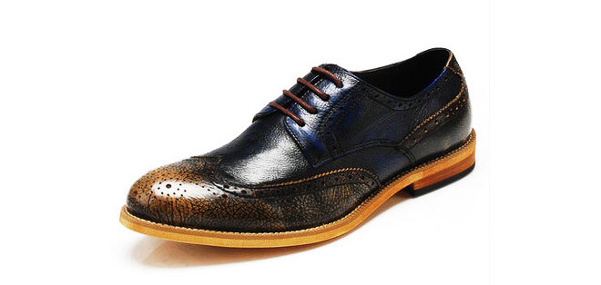 Luxury 2-Tone Breathable Leather Rust Gold Blue Mens Brogue Shoes