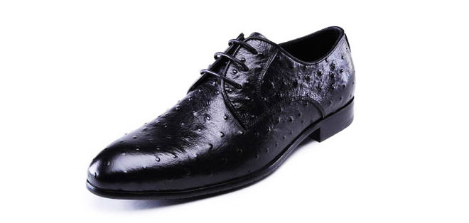 Upscale Men's Black Ostrich Leather Loafer Shoes