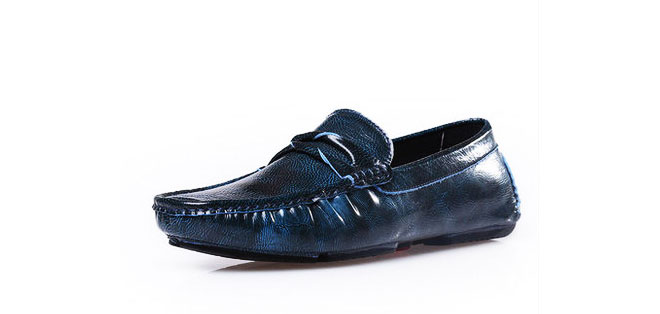 Upscale Cowhide Rustic Blue Leather Driving Shoes
