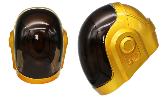 Daft Punk mask in black and gold