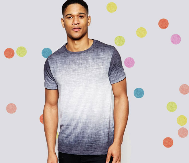 T-Shirt With Textured Fade In Grey