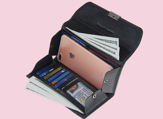 Women RFID Blocking Trifold Checkbook Holder Travel Wallet
