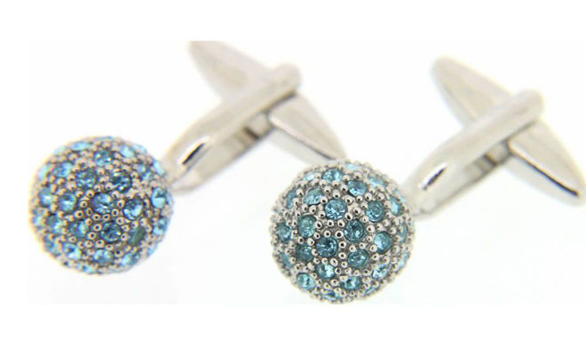 Aquamarine Crystal Ball Cufflinks