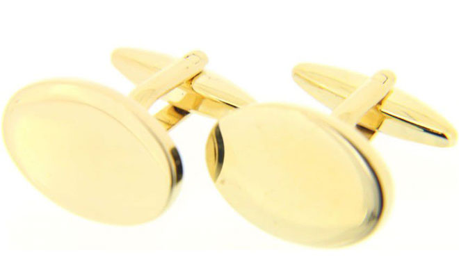 Gold Coloured Oval Cufflinks