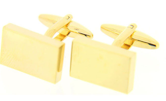 Gold Coloured Rectangular Cufflinks