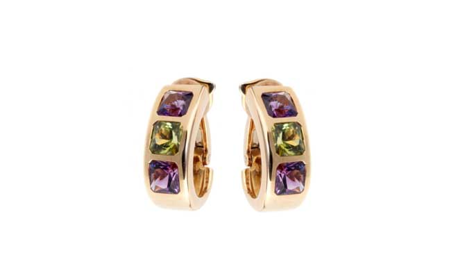Van Cleef & Arpels Amethyst Peridot Gold Earrings // Opulent Jewelers
