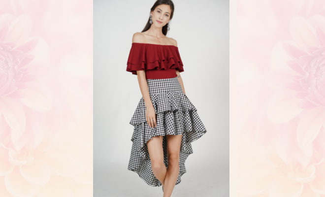 asymmetric ruffle skirt