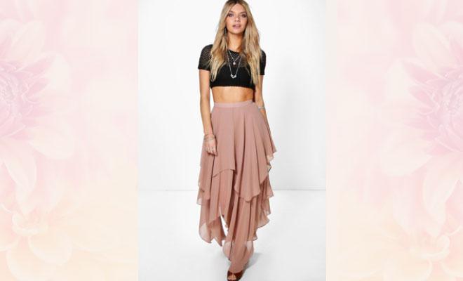 maxi ruffle skirt